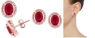 Macy's Ruby (2-1/4 ct. t.w.) & Diamond (1/6 ct. t.w.) Halo Stud Earrings in 14k Rose Gold
