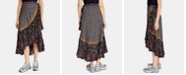 Free People Esmeralda Mixed-Print Midi Wrap Skirt