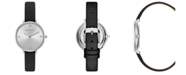 BCBGMAXAZRIA Ladies Black Strap Watch with Silver Dial, 34mm