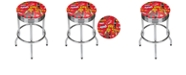 Trademark Global Coca Cola Chrome Ribbed Bar Stool - Ice Cold