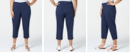 Charter Club Plus Size Tummy Control Dot-Print Cropped Pants, Created for Macy's