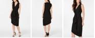 Elie Tahari Printed Draped Front Sheath Dress