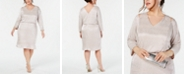 Calvin Klein Plus Size Split-Shoulder Metallic Blouson Dress