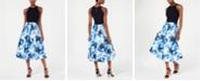 SL Fashions Solid & Floral-Print Halter Dress