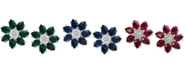 Macy's Emerald (2-1/10 ct. t.w.) & Diamond (1/8 ct. t.w.) Flower Stud Earrings in 14k White Gold (Also Available in Sapphire and Certified Ruby)