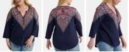 Lucky Brand Plus Size Cotton Bandana-Print Henley Top