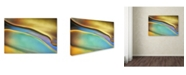 "Trademark Global Cora Niele 'Yellow and Aqua Blue Flow' Canvas Art - 24"" x 16"" x 2"""