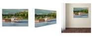 "Trademark Global Jai Johnson 'Barge On The River 2' Canvas Art - 24"" x 16"" x 2"""
