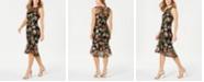 Calvin Klein Floral-Embroidered Trumpet Midi Dress