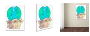 "Trademark Global Miguel Balbas 'Three Teddies Holding the World' Canvas Art - 32"" x 24"" x 2"""