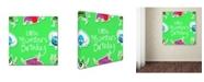 "Trademark Global Jimmy Messer 'LittleMontsterRepeat Pattern Green' Canvas Art - 14"" x 14"" x 2"""