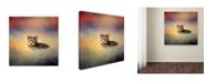 "Trademark Global Jai Johnson 'Yorkie Loving The Leaves' Canvas Art - 35"" x 35"" x 2"""