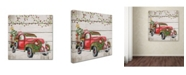"Trademark Global Jean Plout 'Vintage Christmas Truck 2' Canvas Art - 14"" x 14"" x 2"""