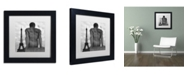 """Trademark Global Moises Levy 'Eiffel and Man' Matted Framed Art - 11"""" x 11"""" x 0.5"""""""