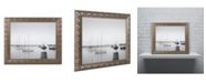 """Trademark Global Moises Levy 'Four Boats & Seagull' Ornate Framed Art - 20"""" x 16"""" x 0.5"""""""