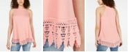 Hippie Rose Juniors' Rib-Knit Crochet Tunic Tank Top