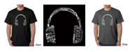 LA Pop Art Mens Word Art T-Shirt - Headphones - Music in Different Languages