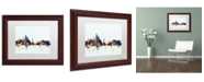 """Trademark Global Michael Tompsett 'New York Skyline Blue' Matted Framed Art - 11"""" x 14"""""""