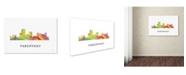 "Trademark Global Marlene Watson 'Parsippany New Jersey Skyline WB-1' Canvas Art - 12"" x 19"""