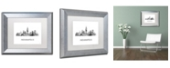 "Trademark Global Marlene Watson 'Indianapolis Indiana Skyline WB-BW' Matted Framed Art - 11"" x 14"""