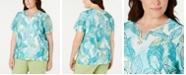 Alfred Dunner Plus Size Coastal Drive Leaf-Print Studded Top