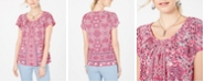 Style & Co Printed Pleated-Neck Top, Created for Macy's