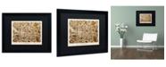 "Trademark Global Michael Tompsett 'Glasgow Street Map Brown' Matted Framed Art - 16"" x 20"""