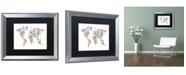 "Trademark Global Michael Tompsett 'Robot Map of the World' Matted Framed Art - 16"" x 20"""