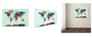 "Trademark Global Michael Tompsett 'World Map Paint Splashes' Canvas Art - 16"" x 24"""