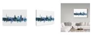 "Trademark Global Michael Tompsett 'Leipzig Germany Blue Teal Skyline' Canvas Art - 19"" x 12"""