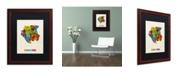 "Trademark Global Michael Tompsett 'Suriname Watercolor Map' Matted Framed Art - 16"" x 20"""