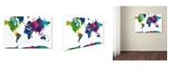 "Trademark Global Marlene Watson 'World Map Clr-1' Canvas Art - 24"" x 32"""