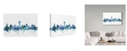 "Trademark Global Michael Tompsett 'Austin Texas Blue Teal Skyline' Canvas Art - 47"" x 30"""