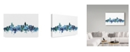 "Trademark Global Michael Tompsett 'Charlotte NC Blue Teal Skyline' Canvas Art - 32"" x 22"""