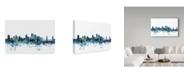 "Trademark Global Michael Tompsett 'Sacramento California Blue Teal Skyline' Canvas Art - 24"" x 16"""