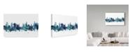 "Trademark Global Michael Tompsett 'Ljubljana Slovenia Blue Teal Skyline' Canvas Art - 47"" x 30"""