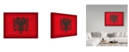 "Trademark Global Red Atlas Designs 'Albania Distressed Flag' Canvas Art - 47"" x 35"""