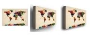 "Trademark Global Michael Tompsett 'Abstract Painting World Map' Canvas Art - 47"" x 30"""
