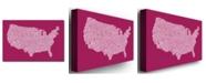 "Trademark Global Michael Tompsett 'US City Map X' Canvas Art - 47"" x 30"""