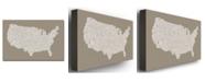 "Trademark Global Michael Tompsett 'US City Map XIV' Canvas Art - 24"" x 16"""