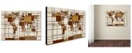 """Trademark Global Michael Tompsett 'Mondrian World Map' Canvas Art - 24"""" x 16"""""""