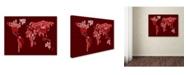 """Trademark Global Michael Tompsett 'World Text Map 3' Canvas Art - 24"""" x 16"""""""