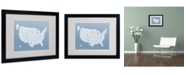 "Trademark Global Michael Tompsett 'STEEL-USA States Text Map' Matted Framed Art - 20"" x 16"""