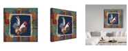 """Trademark Global Jean Plout 'Damask Rooster Frame' Canvas Art - 14"""" x 14"""""""