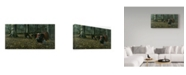 "Trademark Global Wilhelm Goebel 'The Suitor Wild Turkeys' Canvas Art - 12"" x 24"""