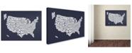 "Trademark Global Michael Tompsett 'SLATE-USA States Text Map' Canvas Art - 14"" x 19"""