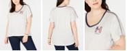 Tommy Hilfiger Plus Size Striped V-Neck Graphic T-Shirt