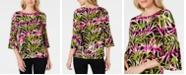 Kasper Petite Tropical-Print Bell-Sleeve Top