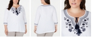Charter Club Plus Size Cotton Embroidered Peasant Top, Created for Macy's