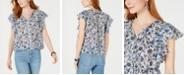 Lucky Brand Floral-Print Flutter-Sleeve Top